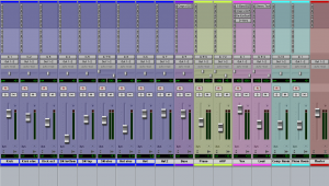 A ProTools Session during mixing